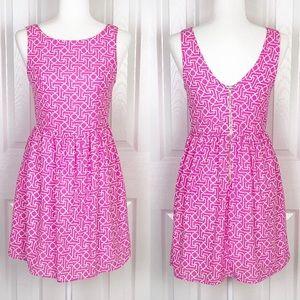 Everly neon pink geometric pattern dress